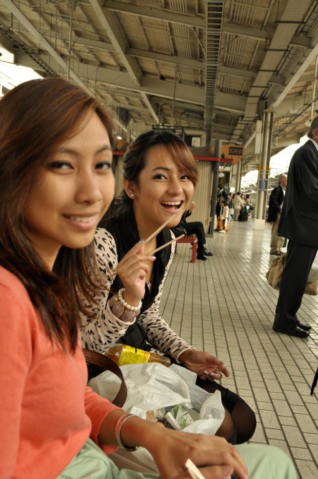 waiting for the shinkansen (bullet train) in Kyoto circa 2011