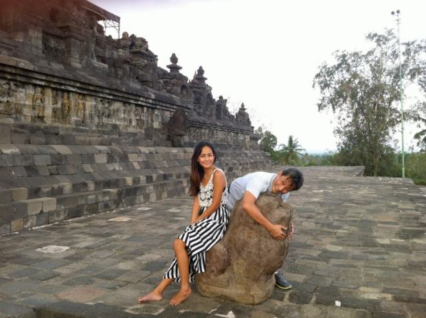 with my dad in Borobodur - where I got my complexion