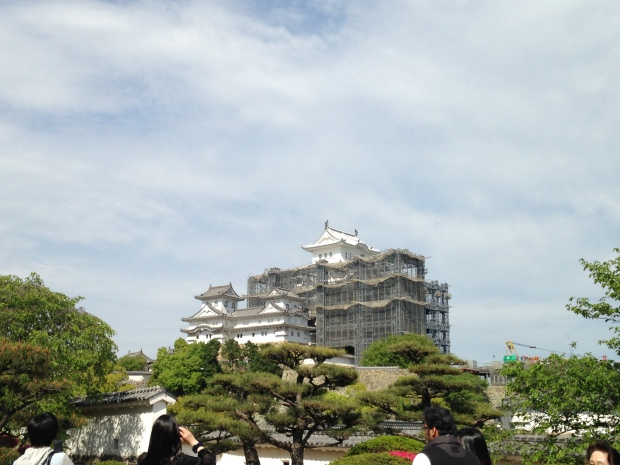 Himeji Castle under renovations: the largest and most visited castle in Japan, the original feudal structure spared from war bombings. Never been under siege because Himeji was never as strategically important as other castles. 1.5 hours west of Osaka.