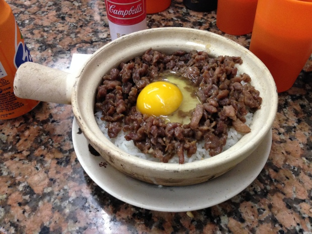 Wing Hap Shing miced beef and claypot egg rice