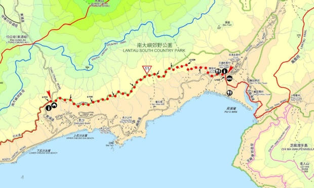 This map from the government is actually wrong because we didn't end in Tung Chung Road. Another map on the trail told us to keep going to a differently-marked end, around 1km off.