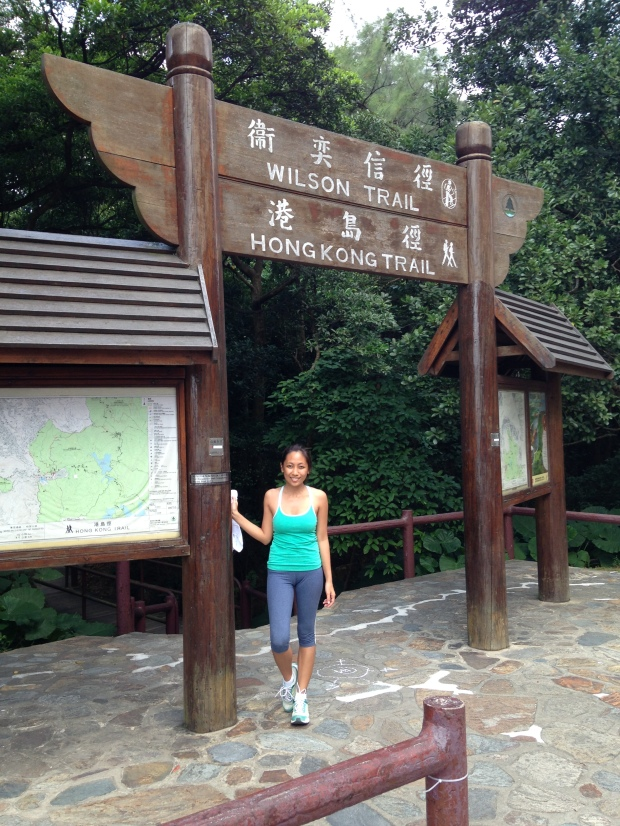 the Wong Nai Chung Reservoir should be behind you to the right. That's my sister, btw...