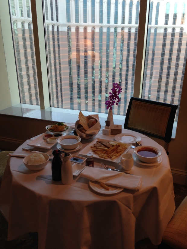 It all began with late lunch in our suite after taking the 1pm ferry from Hong Kong (Shun Tak) to Macau (Taipa)