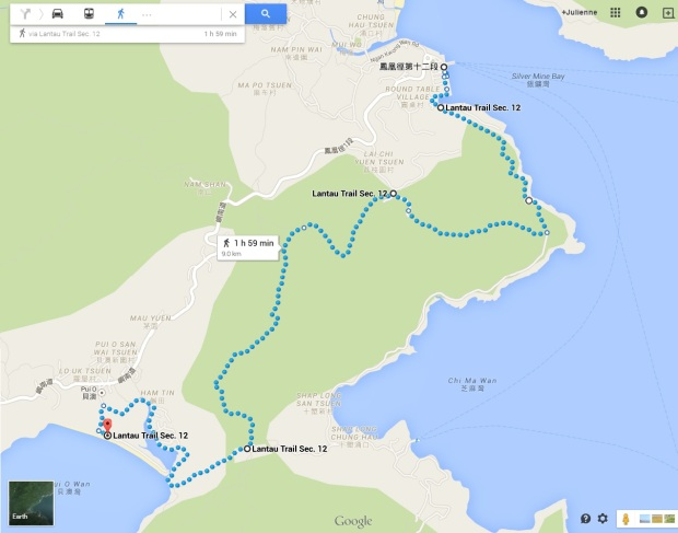 Map of Lantau Stage 12 Hike: Mui Wo to Pui O