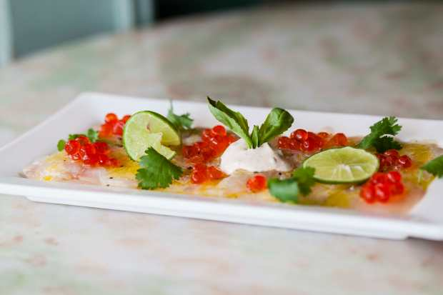 French-Japanese fusion Sea Bass Carpaccio