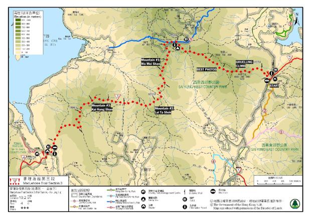 Maclehose 3 Map  Pak Tam Au to Kei Ling Ha